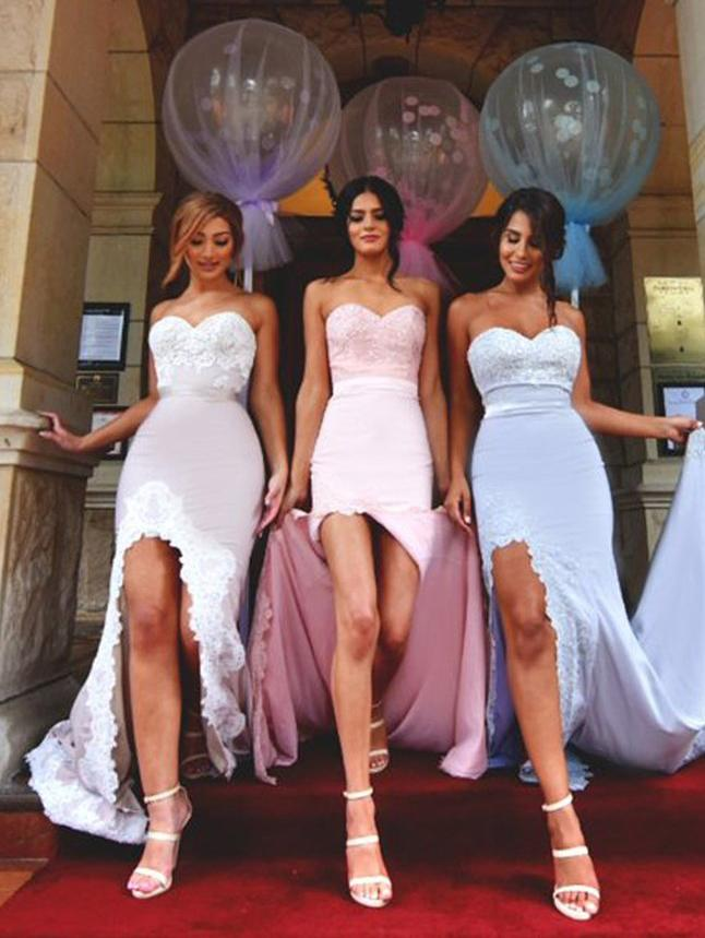 2018 Sweetheart Mermaid Lace Bridesmaid Dress,Strapless Bridesmaid Dresses,Split Bridesmaid Dress