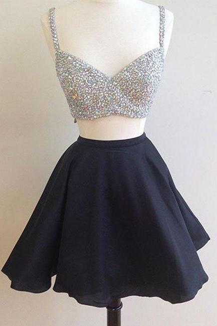 2017 Two Pieced Black Party Dress,Short Prom Dress,Beaded Homecoming Dresses,Spaghetti Strap Homecoming Dress