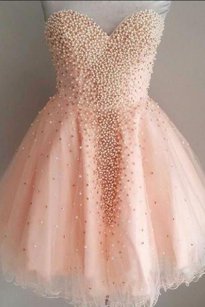 Sweetheart Pink Beaded Homecoming Dress,Tulle Short Homecoming Dress,Pearls Gradaution Dress