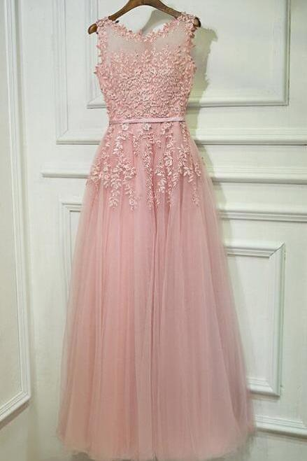 Gorgeous Pink Applique Prom Dresses For Teens,Tulle Long Graduation Dress,Formal Party Dresses