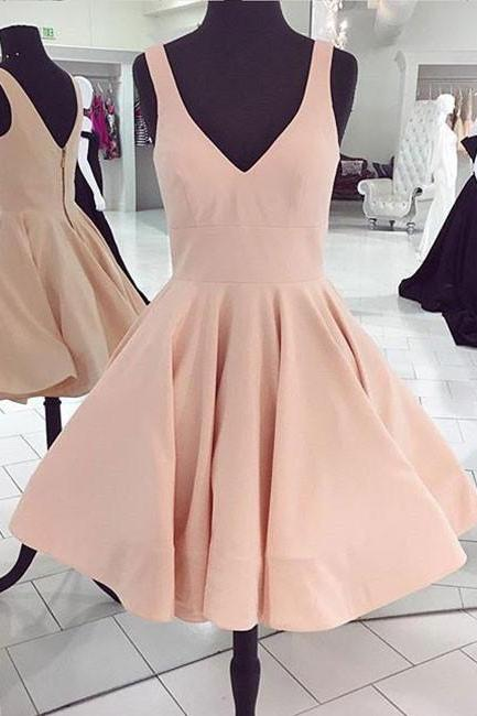 Cute Pink V-Neck A Line Homecoming Dress,Short Sleeveless Party Dress,Women Short Prom Dress
