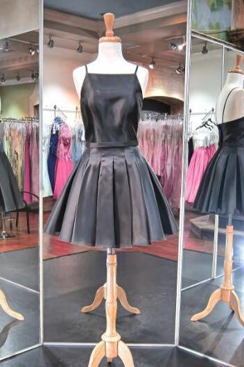 Short Black Satin Homecomig Dress,A Line Backless Party Dresses,Pleated Homecoming Dresses