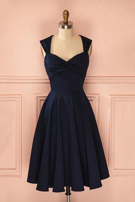 Cute A Line Cap Sleeve Short Prom Dress,Dark Navy Homecoming Dresses