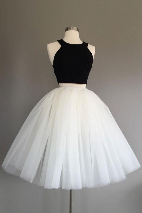 Simple Black and White Two Pieces Homecoming Dresses,Halter Cute Prom Dress,Party Dresses