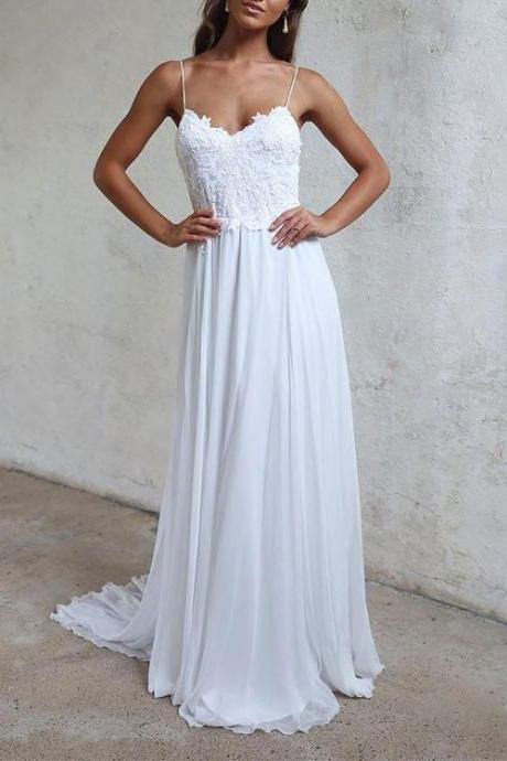 White lace Wedding Dress,A Line V-Neck Prom Dress,Backless Evening Dresses