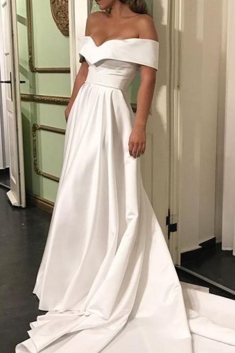 Custom Made White Off-Shoulder Satin A-Line with Sweeping Train Long Evening Dress, Prom Dresses, Formal Dress, Wedding Dress