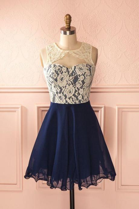 Cute Round Neck Lace Homecoming Dress,Navy Blue Lace Short Prom Dress