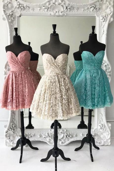 Sweetheart Lace Homecoming Dress,A Line Short Prom Dress,Cute Party Dress