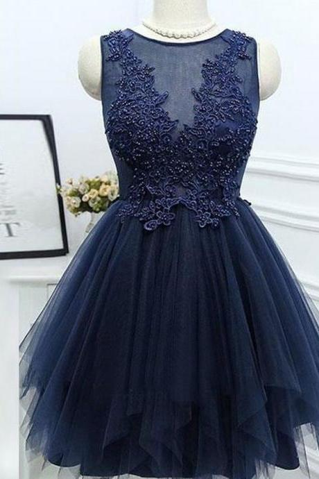 Simple A-Line Navy Blue Homecoming Dress with Appliques Beading
