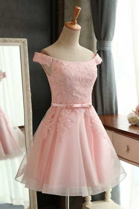 Off Shoulder Pink Lace Applique Bridesmaid Dress,Lace up back Homecoming Dress with Sash
