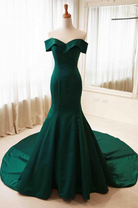 Elegant green off-shoulder mermaid long prom dress,Sweep train formal dresses
