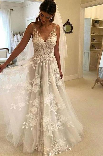 Charming White V-Neck Lace Wedding Dress,2019 Prom Dress,Sleeveless Bridal Dress
