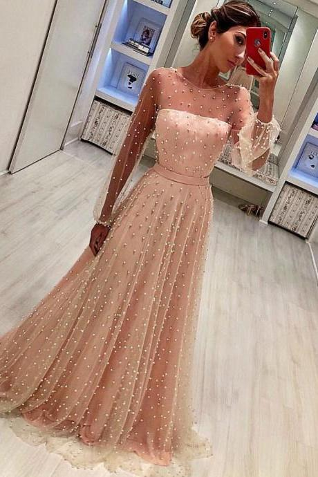 Charming Long Sleeves Prom Dress with Pearls Pink Floor-Length Tulle Evening Gowns