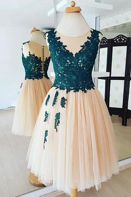 Champagne Round Neck Lace Tulle Short Prom Dress Applique Homecoming Dress