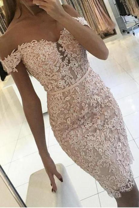 Lace Short Prom Dress,Off the Shoulder Beaded Sexy Appliques Wedding Party Gown