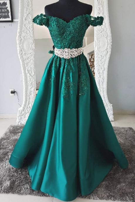 Gorgeous Green Lace Off Shoulder Prom Dress,Sweetheart Applique Evening Dress
