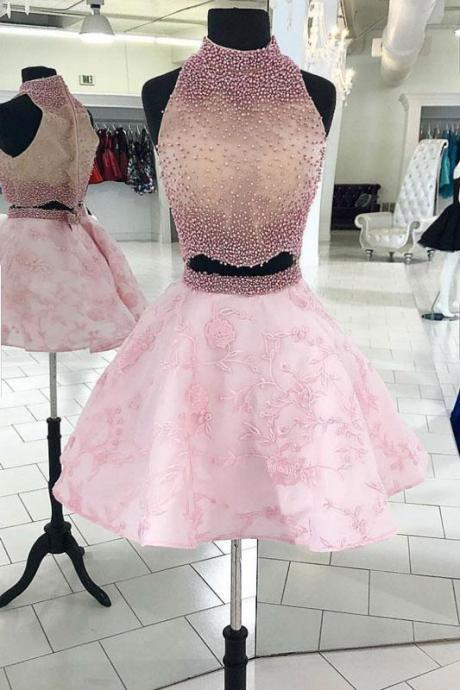 Lovely Pink Beaded High Neck Two Pieces Homecoming Dress,Sleeveless A-Line Graduation Dress,Short Prom Dress with Applique Skirt