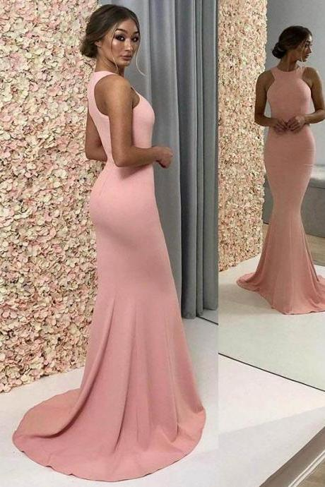 Simple pearl pink high neck satin long prom dress,Floor-Length Bridesmaid Dress