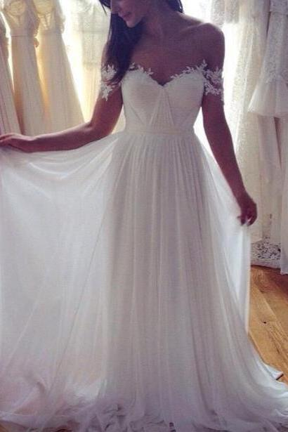 white wedding dress,chiffon prom dress,off shoulder lace dress, sweetheart elegant prom dress, bridesmaid dress