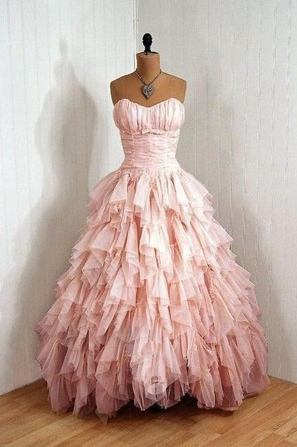 Pink Sweetheart Prom Dress,Ball Gowns For Women,Strapless Formal Dresses