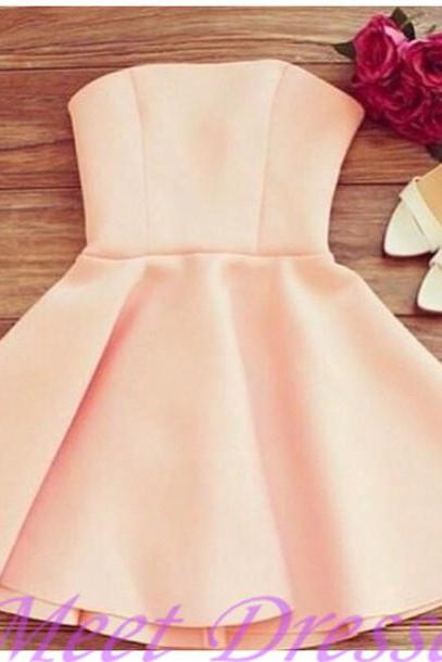 Light Pearl Pink Homecoming Dresses With Strapless Satin Elegant Short Casual Women Dress Party Gown
