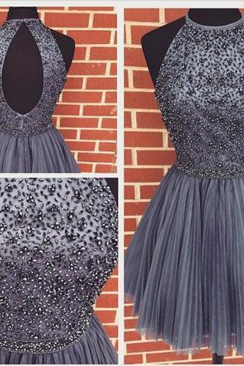 Gray homecoming dress,Cheap homecoming dress,party prom dress,charming prom dresses