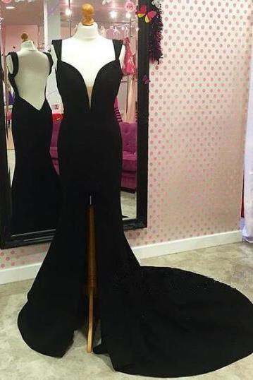 Black Sleeveless Plunging V Mermaid Long Prom Dress, Evening Dress Featuring Front Slit and Open Back