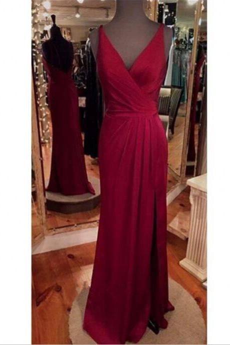 Sexy V neck Prom Dress,Wine Red Prom Dress,Backless Evening Dress,Slit Side Formal Gowns,Party Dresses