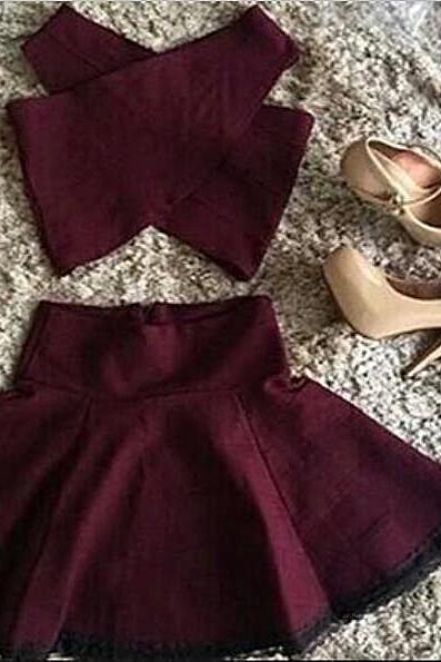 A line Croptop Party Dress,2 Piece Homecoming Dress,Mini Cross Design Skirt For Teens,Short Burgundy Party Dress