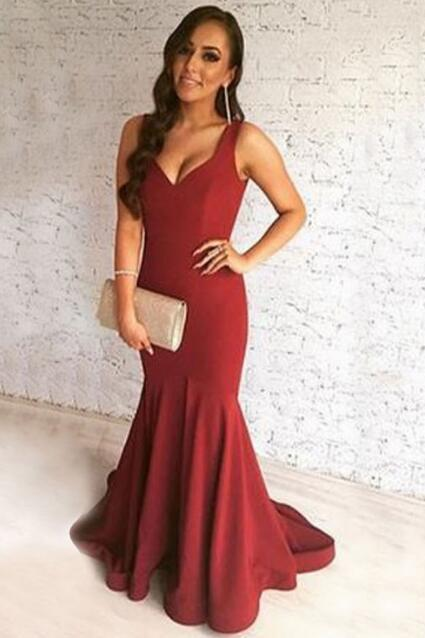 Sexy Mermaid V Neck Sweep Train Long Prom Dress Sleeveless Red Evening Gowns With Open Back