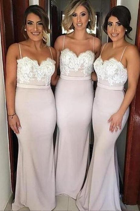 Sexy Sweetheart Sweep Train Pink Mermaid Bridesmaid Dress,Lace Prom Dress,Spaghetti Straps Bridesmaid Dresses