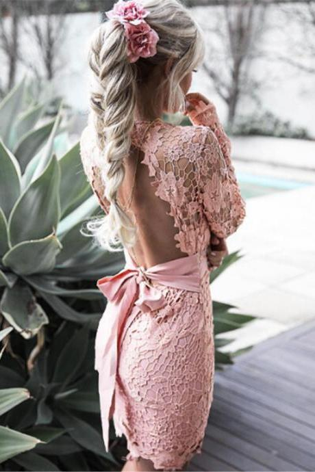 Chic Long Sleeve Lace Pink Prom Dress,Short Party Dress with Lace Up,Backless Homecoming Dress