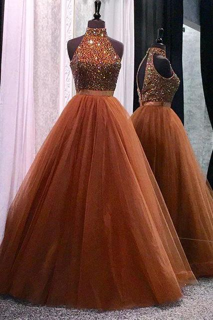 Beading Halter Prom Dress,High Neck Prom Dress,Ball Gowns,Long Prom Dress,Tulle Women Evening Dress