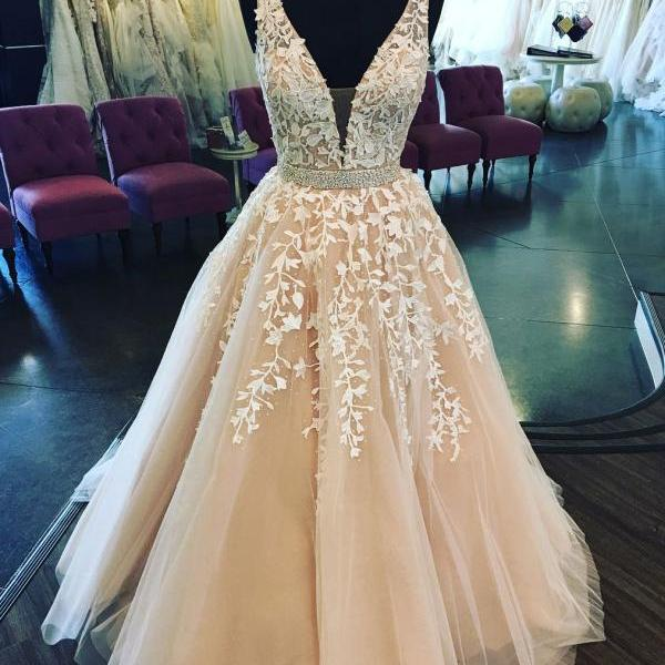 Lace Applique V-Neck Long Prom Dress,Champagne Sleeveless Tulle Formal Dress,2018 Evening Dress