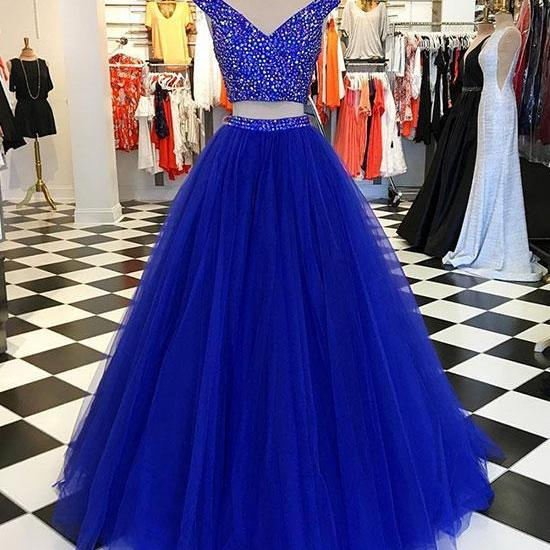 Charming V-Neck Beaded Two Piece Long Prom Dress,Tulle Evening Dress