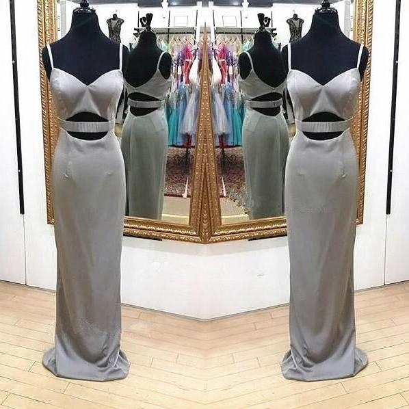 Silver Straps Sweetheart Fitted Long Prom Dress with Cut Out Waist,Floor Length Formal Gowns For Women,Satin Evening Dress